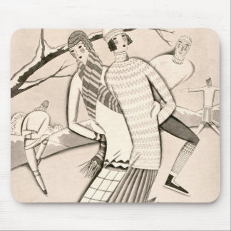 Art Deco Ice Skaters Winter Snow Vintage Mouse Pad