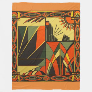 Art Deco in Orange Large blanket