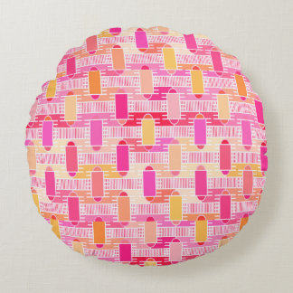 Art Deco industrial chic - pink, peach, gold Round Pillow
