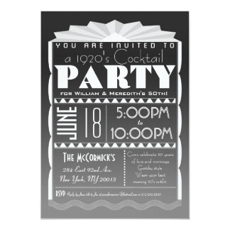 Art Deco Invitation - Gatsby Style- Custom Text
