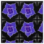 Art Deco-ish Morning Glory - Purple on Black Fabric