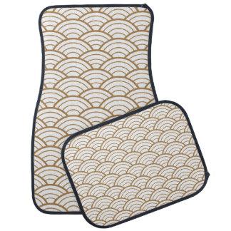 art deco,japanese fan pattern, gold,white,vintage, car mat