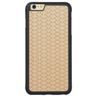 art deco,japanese fan pattern, gold,white,vintage, carved maple iPhone 6 plus bumper case