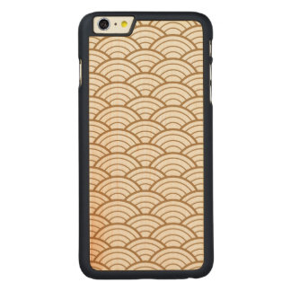 art deco,japanese fan pattern, gold,white,vintage, carved maple iPhone 6 plus case