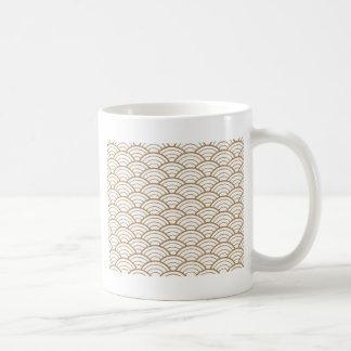 art deco,japanese fan pattern, gold,white,vintage, coffee mug