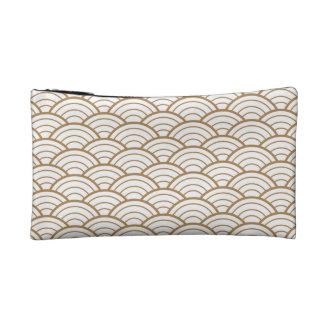 art deco,japanese fan pattern, gold,white,vintage, cosmetic bag