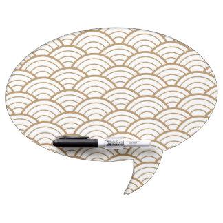 art deco,japanese fan pattern, gold,white,vintage, dry erase board