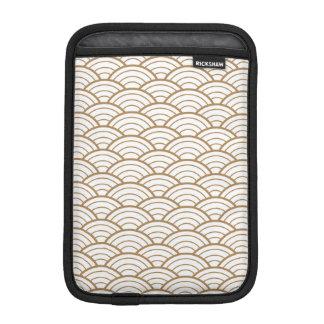 art deco,japanese fan pattern, gold,white,vintage, iPad mini sleeve