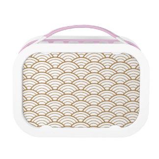 art deco,japanese fan pattern, gold,white,vintage, lunch box