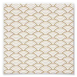 art deco,japanese fan pattern, gold,white,vintage, photo print