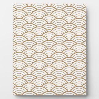 art deco,japanese fan pattern, gold,white,vintage, plaque