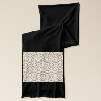 art deco,japanese fan pattern, gold,white,vintage, scarf