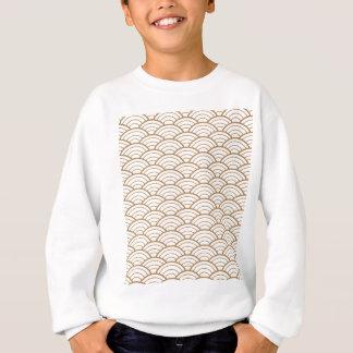 art deco,japanese fan pattern, gold,white,vintage, sweatshirt