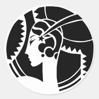 Art Deco Lady Classic Round Sticker