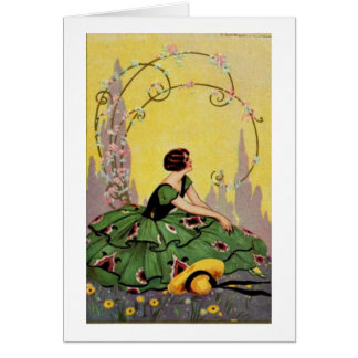 Art Deco Lady in Green, Card