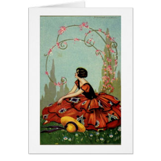 Art Deco Lady in Red, Card