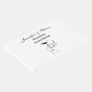 Art Deco Lady's Hand Holding Champagne Glass Guest Book