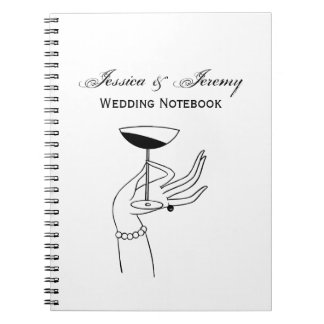 Art Deco Lady's Hand Holding Champagne Glass Notebook
