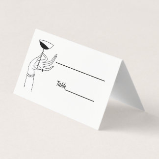 Art Deco Lady's Hand Holding Champagne Glass Place Card