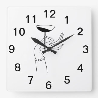 Art Deco Lady's Hand Holding Champagne Glass Square Wall Clock