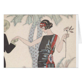 Art Deco Lady – Standing beside the tree. Greeting Card