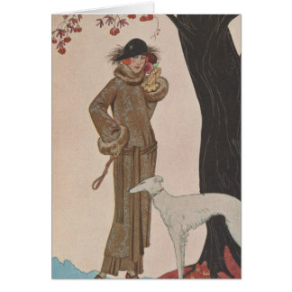 Art Deco Lady - Standing beside the tree. Greeting Card