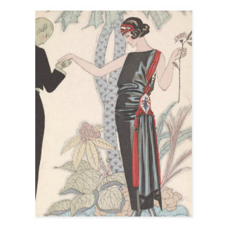 Art Deco Lady – Standing beside the tree. Postcard