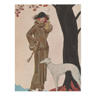 Art Deco Lady - Standing beside the tree. Postcard