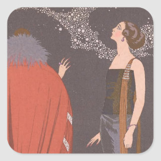 Art Deco Lady - Standing beside the tree. Square Sticker