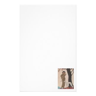 Art Deco Lady - Standing beside the tree. Stationery Paper