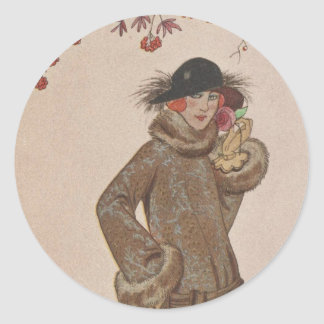 Art Deco Lady - Standing beside the tree. Classic Round Sticker