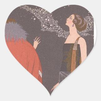 Art Deco Lady - Standing beside the tree. Heart Sticker