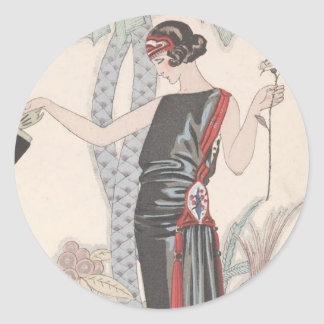 Art Deco Lady – Standing beside the tree. Round Stickers