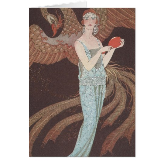 Art Deco Lady – Standing in front of the bird. Card