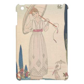 Art Deco Lady – Standing with umbrella. iPad Mini Covers