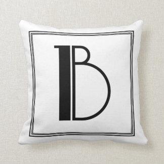 Art Deco Letter B Monogrammed Pillow