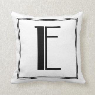 Art Deco Letter E Monogrammed Pillow