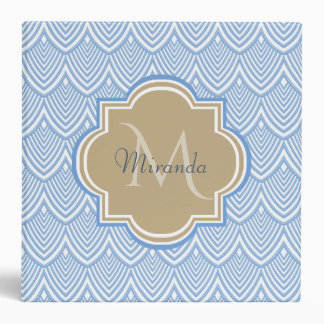 Art Deco Light Blue Fish Scales Tan Monogram Name Binders