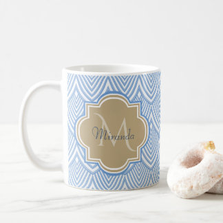 Art Deco Light Blue Fish Scales Tan Monogram Name Coffee Mug