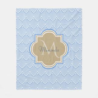 Art Deco Light Blue Fish Scales Tan Monogram Name Fleece Blanket