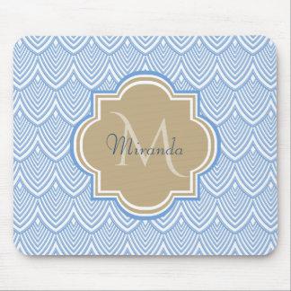 Art Deco Light Blue Fish Scales Tan Monogram Name Mouse Pad