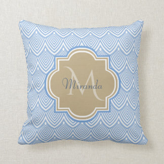 Art Deco Light Blue Fish Scales Tan Monogram Name Throw Pillow