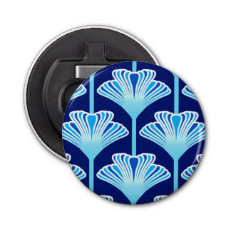 Art Deco Lily, Cobalt Blue, Aqua and White Bottle Opener