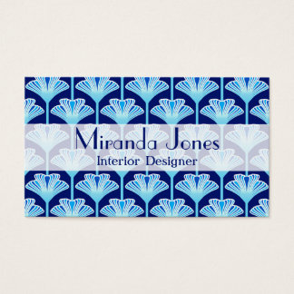 Art Deco Lily, Cobalt Blue, Aqua and White Business Card