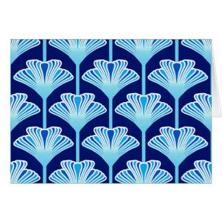 Art Deco Lily, Cobalt Blue, Aqua and White Card