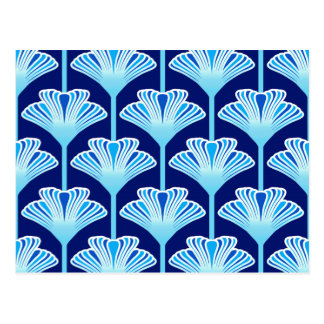 Art Deco Lily, Cobalt Blue, Aqua and White Postcard