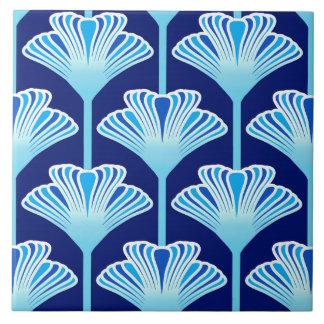 Art Deco Lily, Cobalt Blue, Aqua and White Tile