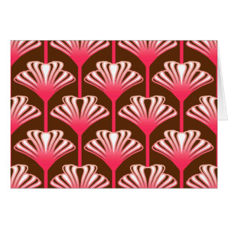 Art Deco Lily, Dark Brown and Coral Pink Card
