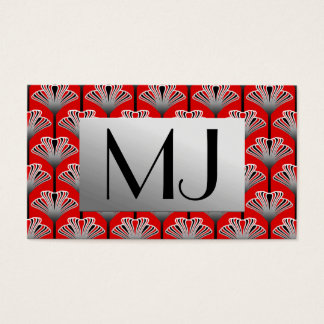 Art Deco Lily, Deep Red and Gray / Grey Business Card