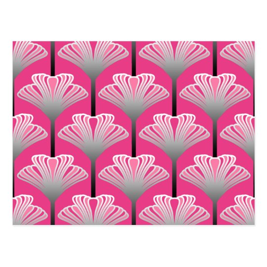 Art Deco Lily, Fuchsia Pink and Silver Grey Postcard